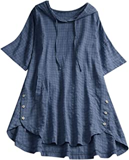 Women's Vintage Button Down Short Sleeve Hoodie Tops Loose Plus Size Pocket Plaid T-Shirt