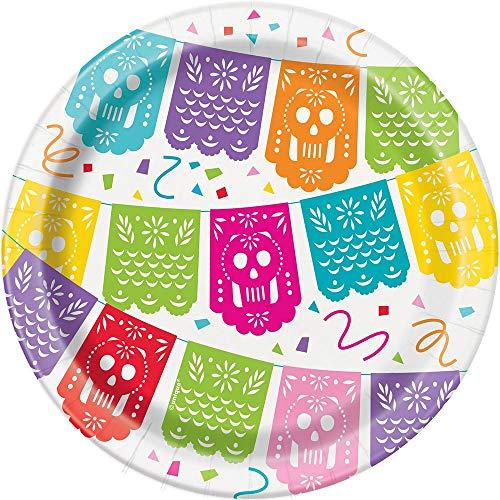 Unique Party - Platos de Papel - 18 cm - Diseño de Fiesta Mexicana - Paquete de 8 (58684)