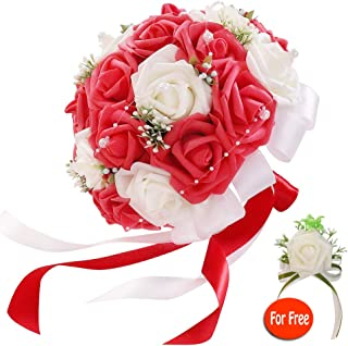 six-qu Rose Wedding Bouquet,Artificial Foam Bridal Bouquet and Groom Brooch with Pearl Ribbon Perfit for Romantic Wedding (White-Red)