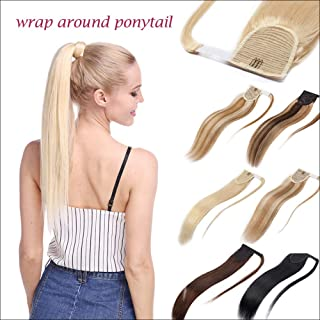 Wrap Around 100% Remy Human Hair Ponytail Extension Thick Long Straight Hairpiece with Comb Clip in One Piece Magic Paste Pony Tail For Women 14''/14 inch 80g #1B Natural Black