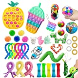 Fidget Toy Pack, Cheap Sensory Fidget Pack Stress Relief Toys Set with Pop Bubble Marble Mesh Pop Anxiety Tube for Kids Adult (Multi F)