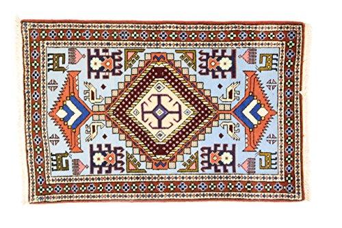 Eden Kunststoff Ardebil Teppich Hand geknotet, Baumwolle, Mehrfarbig, 68x 104cm