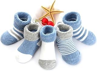 CNNLove, 5 Pares De Calcetines Antideslizantes para Niños Niñas Recien Nacido Unisex Pequeños Algodón Lindo con Puños Calcetines Antideslizantes para Bebés,F,L