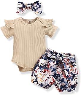NZRVAWS Newborn Baby Girl Clothes Long Sleeve Ruffle Romper Bodysuit Floral Halen Pants Bowknot Headband 3pcs
