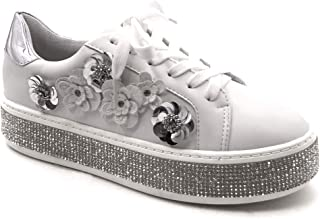 db51f451d7252e Angkorly - Chaussure Mode Baskets Tennis Plateforme Femme Strass Diamant  Fleurs Brillant Talon Plat 4 CM