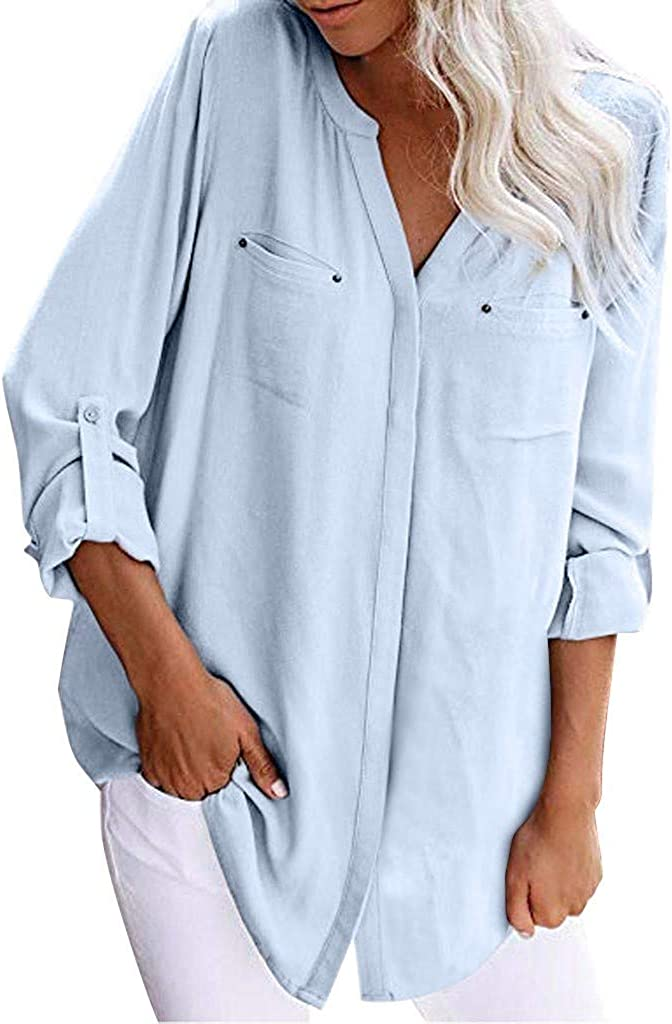 NREALY Blusa Womens Long Cuffed Sleeve V Neck Button Down Casual Shirt Blouse Top with Patch