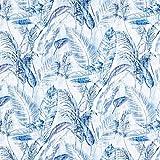 Fabulous Fabrics Halbpanama blau, Pflanze, 140cm breit