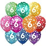 6 Cumpleaños Globos Decoracion Cumpleaños 6 Años Globos de látex, 30 cm, Colores Surtidos, Paquete de 30