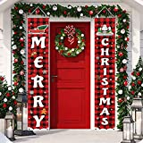 Trooer Christmas Porch Sign, Merry Christmas Banner Indoor Outdoor Christmas Decorations New Year Black Red Buffalo Plaid Hanging Banners Sign for Holiday Party Supplies Home Welcome