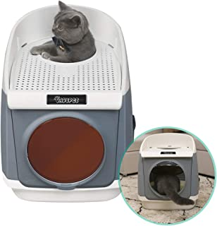 DADYPET Cat Litter Box, Hooded Kitty Litter Box Two-Door Top-Entry Front-Entry Self Cleaning Large Covered Litter Pan with Lid Scoop Gray