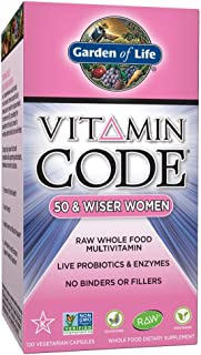 Garden of Life Multivitamin for Women - Vitamin Code 50 & Wiser Women's Raw Whole Food Vitamin Supplement with Probiotics, Vegetarian, 120 Count