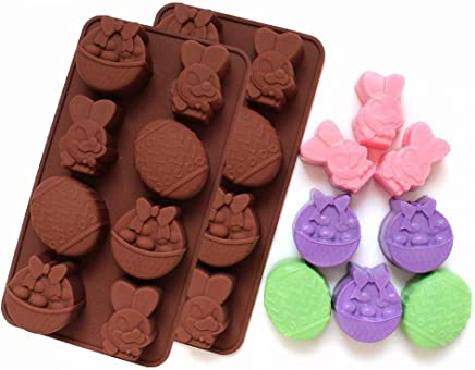 2-Pack Easter Egg and Bunny Mold - MoldFun Giant Easter Silicone Mold for Jello,  Ice Cube,  Chocolate,  Candy,  Baking Muffin Cake Cupcake,  Soap,  Bath Bomb,  Lotion Bar
