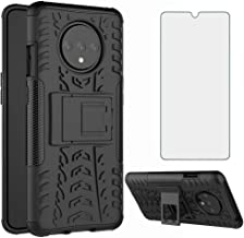 Phone Case for OnePlus 7T with Tempered Glass Screen Protector Cover Stand Kickstand Hard Rugged Hybrid Protective Cell Ac...