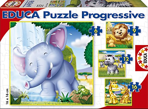 Puzzles Educa - Animales Salvajes, Rompecabezas progresivos,