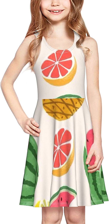 YhrYUGFgf Watermelon Pineapple Kiwi Dress Girl's Sleeveless Dress Casual Skirt Tank Dress