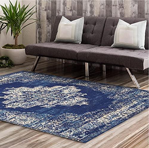 KaO0YaN,Alfombra de área de patrón de medallón Persa Vintage, Alfombra de área Multicolor Blanda Bohemia, alfombras de alfombras alfombras de Sala de Estar(Azul,80x160cm)