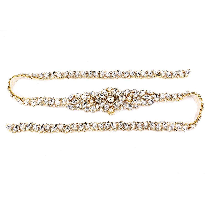 Hot fix Rhinestone Applique Belt Silver Beaded Crystal Simple Classic Bridal Belt Trim With White Sash for Wedding Dress.