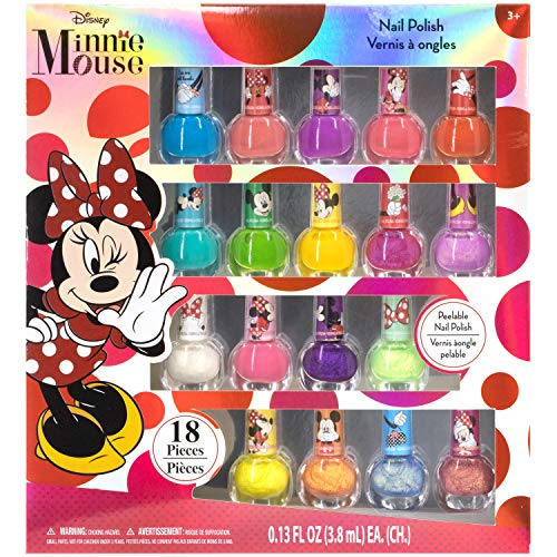 Townley Girl Disney Minnie Mouse Non-Toxic Peel-Off Nail Polish Set for Girls, Glittery and Opaque Colors, Ages 3+ - 18 Pcs