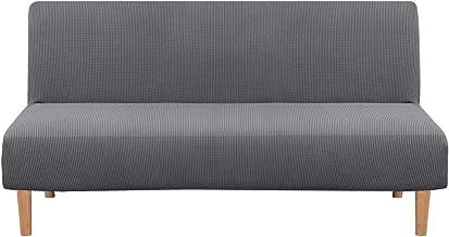 Armless Futon Cover Stretch Sofa Bed Slipcover Protector Elastic Feature Rich Textured High Spandex Small Checks Jacquard Fabric Sofa Shield Futon Cover, Machine Washable, Gray