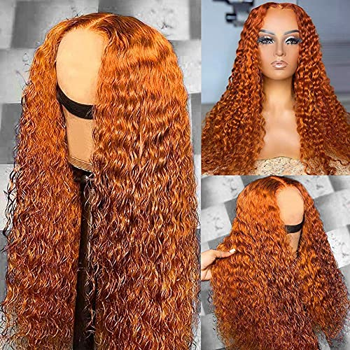 Dolahair Orange Ginger Color Lace Front Wig Human Hair 13X4Curly Transparent Lace Frontal Wig middle part wig 150 Density (20 Inch)