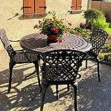 Lazy Susan - Alice 120 cm Runder Gartentisch mit 4 Stühlen - Gartenmöbel Set aus Metall, Antik Bronze (Rose Stühle)