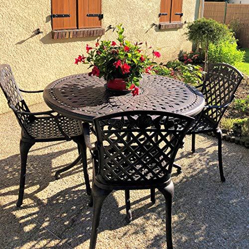 Lazy Susan - Table Ronde 120 cm Alice et 4 chaises de Jardin - Salon de Jardin en Aluminium moulé, Coloris Bronze Ancien (chaises Rose, Coussins Beiges)