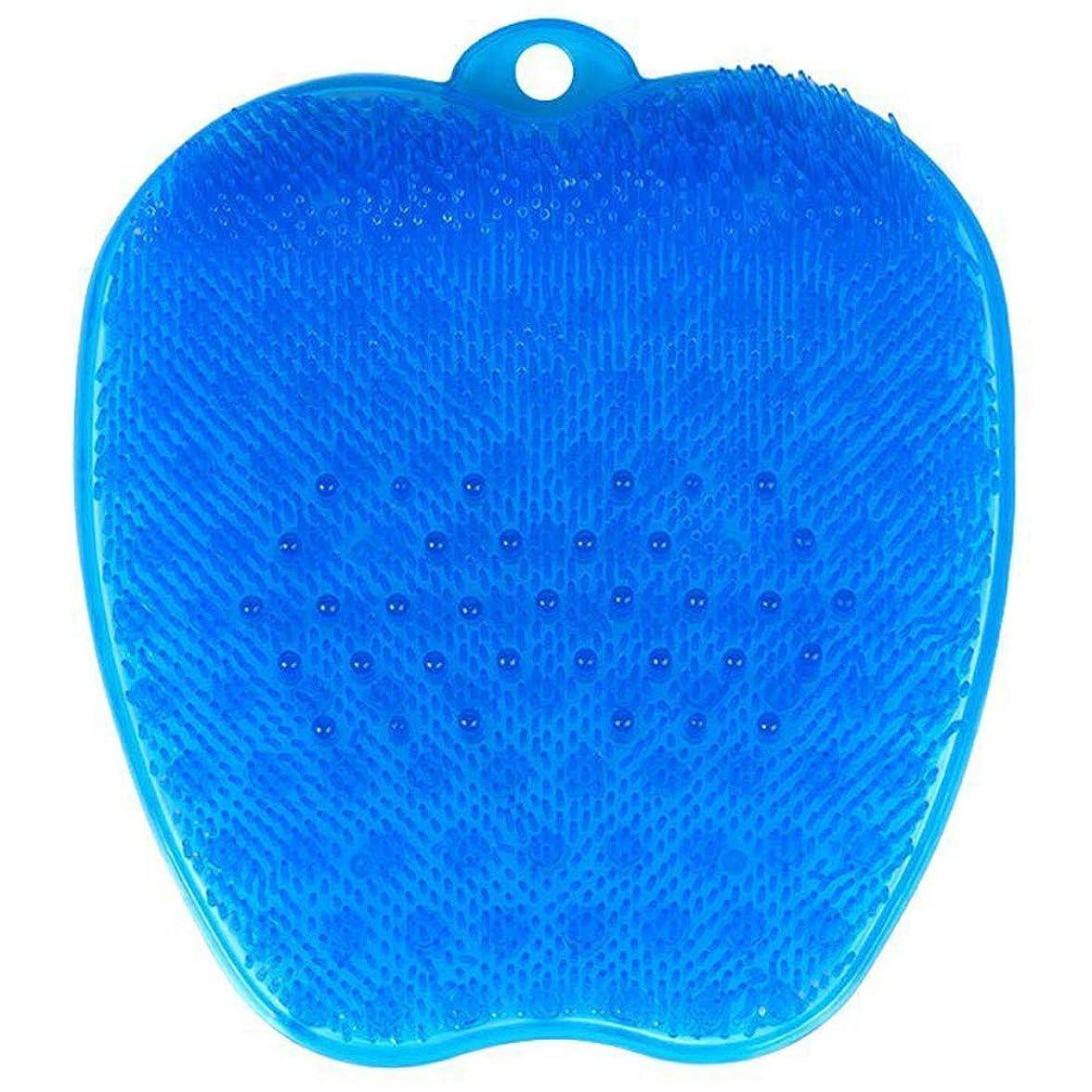 ストラップ例示する彼の足洗いブラシ 滑らない吸盤付き ブルー フットケア フットブラシ 角質ケアブラシ お風呂で使える