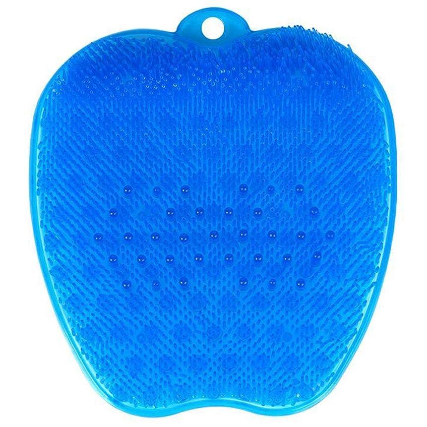 グループ野心うつ足洗いブラシ 滑らない吸盤付き ブルー フットケア フットブラシ 角質ケアブラシ お風呂で使える