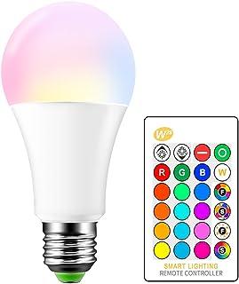 ONEVER - Bombilla LED RGB de 15 W, casquillo E27 RGBW, 16 opciones de color, mando a distancia por infrarrojos incluido, equivalente a 65 W (1 paquete)