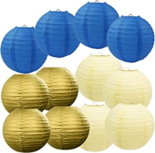 Set of 12 Mixed Navy Cream Gold Round Paper Lantern Lamp Shades for Wedding Birthday Baby Girl Shower Party Decoration (Navy Cream Gold)