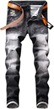 FONMA Spring and Summer Men's Pants Casual Trousers Trend Printed Pocket Jeans