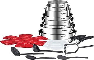 Tefal Ingenio Emotion Batterie Cuisine 22 Pièces, Casseroles, Couvercle Hermétiques,Sauteuse, Wok, 5 Spatules Bienvenue, ...