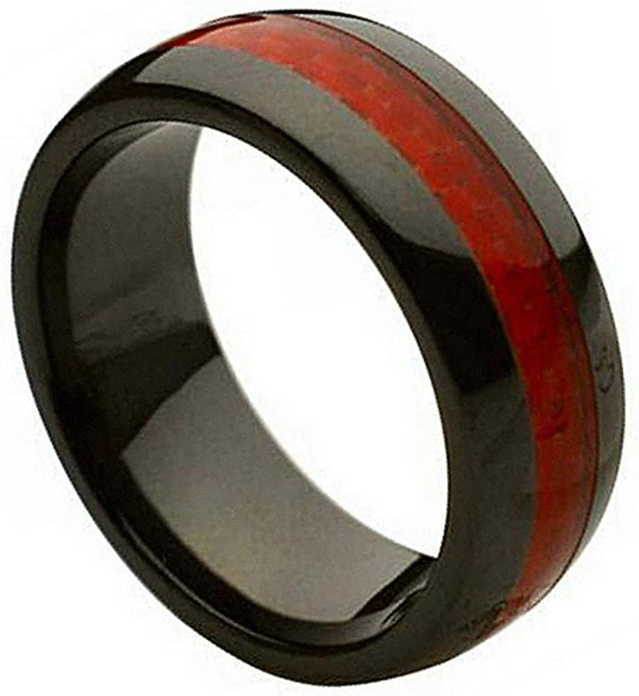 Tungsten Jeweler 8mm Ceramic Black with 4 years warranty Seasonal Wrap Introduction W Carbon Fiber Red Inlay