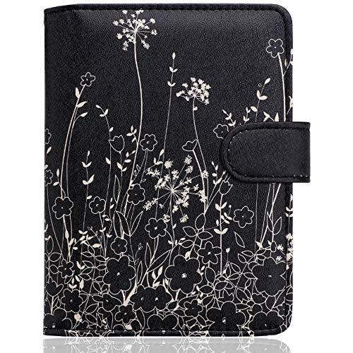 WALNEW Passport Holder Cover Case Travelling Passport Cards Carrier Wallet Case (E-Black Flowers)