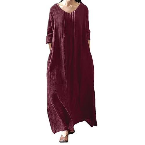 e95dd8c0d5 StyleDome Womens Vintage Retro Oversized Cotton Kaftan Long/Short Sleeve  Tunic Baggy Long Maxi Shirt