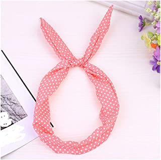 XHNMAO Retro Style Wired Headdress Polka Dot Lattice Retro Line Hair Accessories Sports Yoga Hair Band (Color : WR)