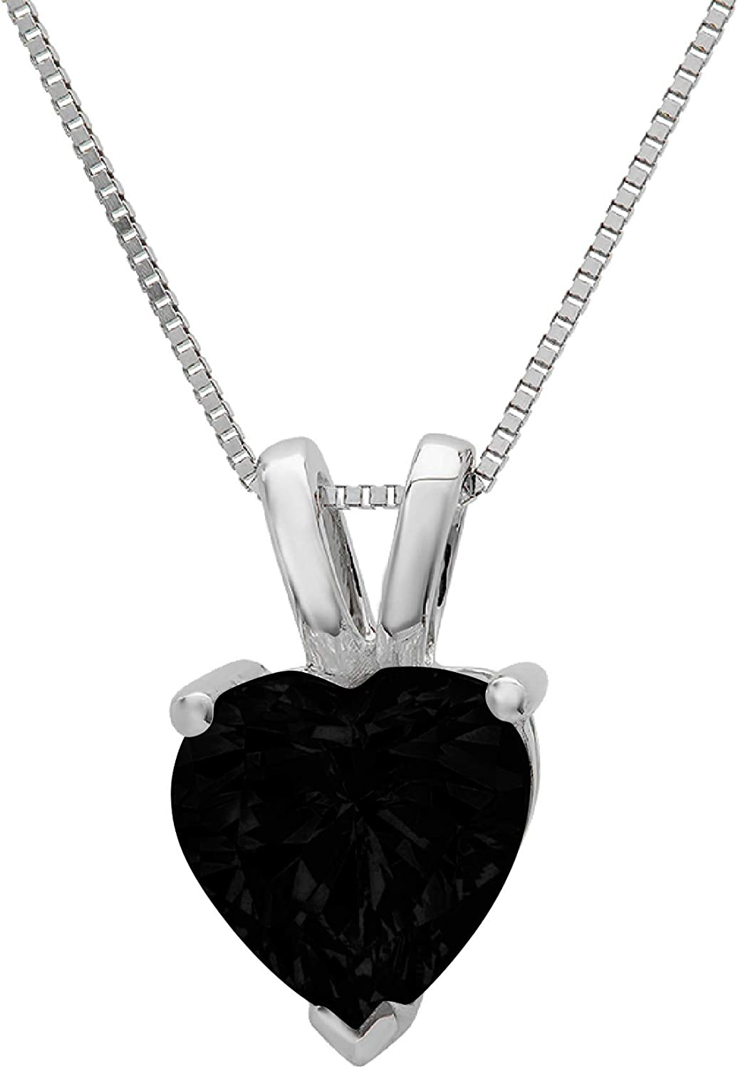 0.55 ct Brilliant Heart Cut Flawless Genuine Natural Black Onyx VVS1 Solitaire Designer Pendant Necklace With 16