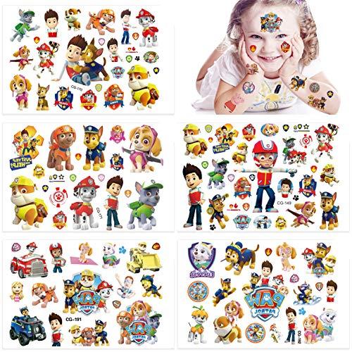 Qemsele Temporäre Tattoo Set Kinder, 200+ Pcs 10 Sheet Tattoos Aufkleber Sticker Wasserdicht Klebe-Tattoos Frozen Superheld Für Geschenktüten Kindergeburtstag Mitgebsel Mädchen Jungen (Paw Patrol)