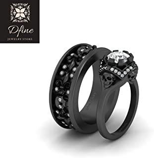Matching Diamond Skull Couple Rings Gothic Wedding Band Ring Set His and Hers Skull Rings
