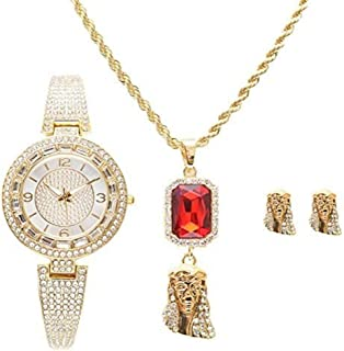 Shine Like a Diamond Bling Bling Ladies Baguette Rhinestone Luxurious Watch with Jesus Ruby Red Charm Necklace and Matching Gold Jesus Earrings - RRR11A -LW10028 Gold Jesus Set