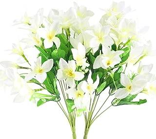 NAHUAA 2PCS Outdoor Artificial Silk Narcissus Flower Bundles Fake Plants Bushes Faux Floral Bouquets Table Centerpieces Arrangements Wedding Home Kitchen Office Decor Spray in White
