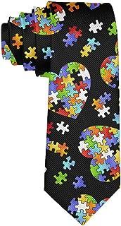 Men's Skinny Tie Autism Awareness Puzzle Pieces Causal Floral Printed Silk Necktie