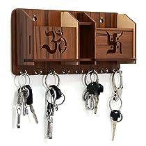 CLK craft Key Holder Special Designer Wooden om swastikTOW Pocket Pen Stand. 8 Hook Wood Key Holder (28cm x 12cm x 6cm, Brown)