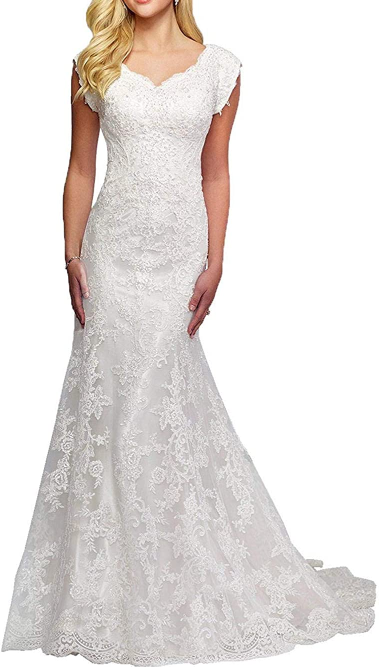 Wedding Dress Lace Bridal Gown Mermaid Bride Dresses V Neck Wedding Gowns Cap Sleeves
