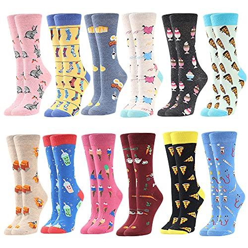 BONANGEL Calcetines de Vestir Divertidos para Mujer, Novedad Bonita, Calcetines de Miedoso Fantasía Coloridos Algodón Extraño, Cálidos Cumpleaños, Navidad para Mujeres