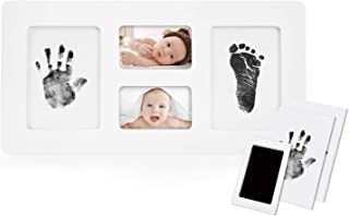 Norjews Baby Handprint and Footprint Photo Frame Kit for Newborn Boys and Girls, Babyprints Paper and Clean Touch Ink Pad to Create Baby's Prints, Amazing
