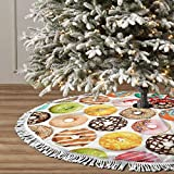 GHYGTY Christmas Tree Skirt 36' Inch Colorful Donuts Xmas Tree Skirt Mat with White Tassel for Party Holiday, Tree Skirt Christmas Decorations