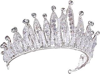 Amosfun diademas de boda corona de diamantes rhinestone joyería de banda para el cabello para mujeres niña novia (blanco)