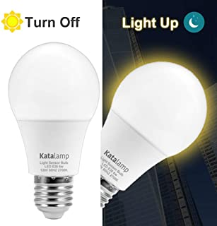 Dusk to Dawn Light Bulb LED Sensor Light Bulb Automatic On/Off Light Sensing, 6-Watt (40-Watt Equivalent) Warm White 2700K Standard Base, Indoor Outdoor, Porch Patio Front Door Yard Lighting (2 Pack)