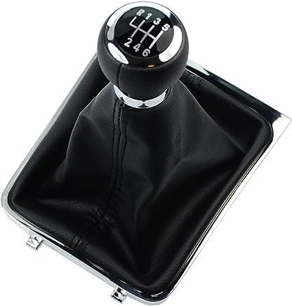 RunQiao 6 Speed PU Leather Shifter Gear Shift Knob Gaiters Boot Black 12mm